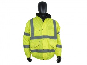 High Visibility Waterproof Bomber Jacket w/ Heavy Duty Zip & Storm Flap