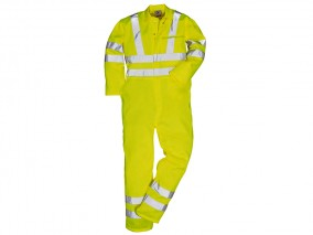 Yellow Polycotton High Vis Coverall w/ Security Chest pocket