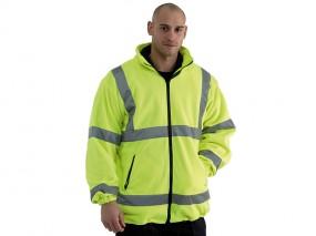 High Viz Yellow Fleece Jacket w/ Mesh Lining & Full Zip Fastening