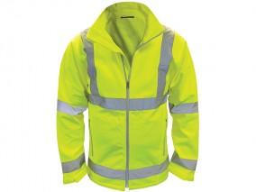 Yellow High Vis Softshell Jacket w/ Front zip fastening & Elastic cuffs