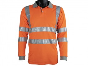 Orange Poly Cotton Polo Shirt w/ Improved Breathability & Vented fabric on underarms