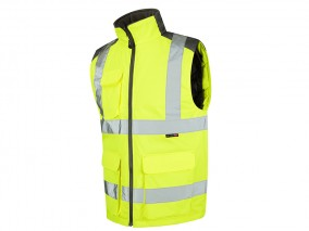 Yellow PU Coated Polyester Body-warmer Vest w/ Fleece-Lined Collar for Comfort