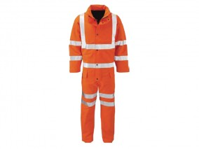 Gore-tex Lined High Vis Coveralls Orange w/ quilt padded lining & enhanced breathability