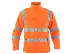 High Vis Rail Polar Fleece Jacket Orange w/ Elasticated Cuffs & Stand up Collar