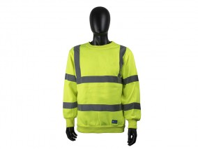 Yellow High Vis Activwear Sweatshirt w/ Ribbed cuffs & Fleece back knitted fabric