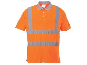 Rail High Viz Polo Shirt w/ breathable, ribbed fabric & Side vents