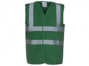 High Vis Green Sleeveless Vest W/ Velcro Fastening & 50mm Width Reflective Tape