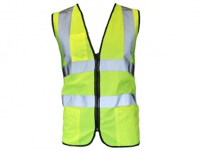 High Vis Yellow Executive Vest Class 2 w/ lower hand pockets & chest pen pocket