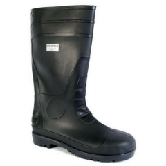 Black steel toe-cap safety wellingtons w/PVC upper & kick off lug at heel