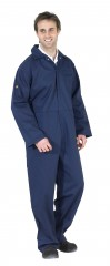 Flame Retardant Boiler Suit Coverall w/ Concealed stud front to neck