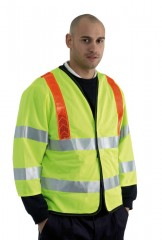 Yellow Long Sleeve Hi Vis Vest with Red Shoulder Braces & Black Edge Trim
