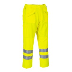 Yellow High Vis trousers w/ Knee pad pockets & Elasticated back waist