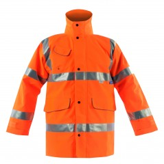 Vapourking Hi Vis Rail Storm Coat w/ Contoured Neckline Collar & Fleece Chin Guard