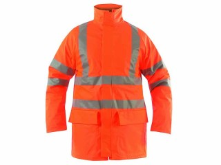 GN110FR - High Vis Flame Retardant Coat w/ Elasticated storm cuffs