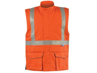 Flame Retardant High Vis Orange Bodywarmer w/ Thermal Padded Insulation