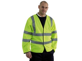 Yellow High Vis Long Sleeve Vets w/ Velcro Front Fastening & Reflective Strips