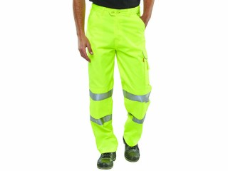 Cargo Work Trousers Yellow w/ Knee Pad Pouch Pockets & 3M Scotchlite Reflective Tape