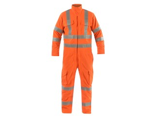 Flame Retardant High Vis Full Body Zipped Coverall w/ Double band reflective tape