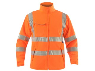 High Vis Rail Polar Fleece Jacket Orange w/ Elasticated Cuffs & Stand up Collar