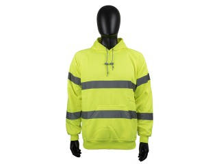 Yellow High Vis hooded Sweatshirt w/ generous pockets and adjustable drawstring