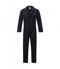 Budget polycotton overall w/ elasticated back & studs front fastening