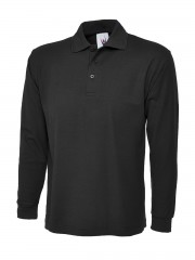 Long Sleeve Polo Shirt w/ Raised Collar & Plain Cuffs