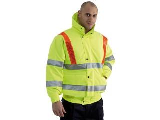Yellow Hi Vis Traffic Bomber Jacket W/ Red Brace & Elasticated Storm Cuffs