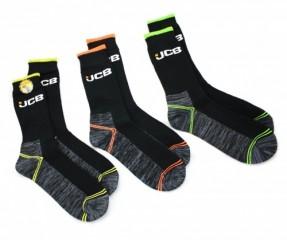 JCB 3 Pack Hi-vis Boot Sock w/ Breathable & aerobic knit welt.