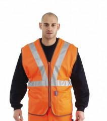 SA200RT - Standard Hi Vis Rail Vest w/ Quick Release Press Studs & Zip Front Fastening