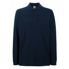Fruit of the Loom Long Sleeve Polo Shirt w/ Elastane rib cuff