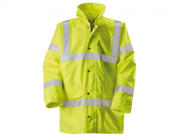 Yellow High Vis Waterproof Padded Coat / Concealed Hood & Knitted Storm Cuffs