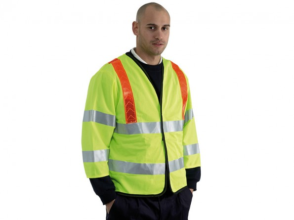 Yellow High Vis Traffic Coat w/ red reflective shoulder bands & Warm Quilt Lining